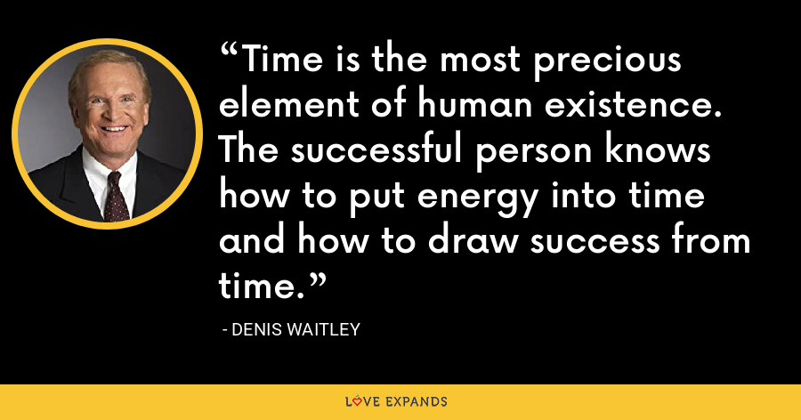 Time is the most precious element of human existence. The successful person knows how to put energy into time and how to draw success from time. - Denis Waitley