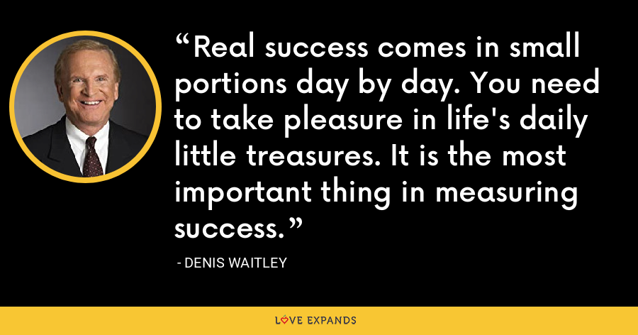 Real success comes in small portions day by day. You need to take pleasure in life's daily little treasures. It is the most important thing in measuring success. - Denis Waitley