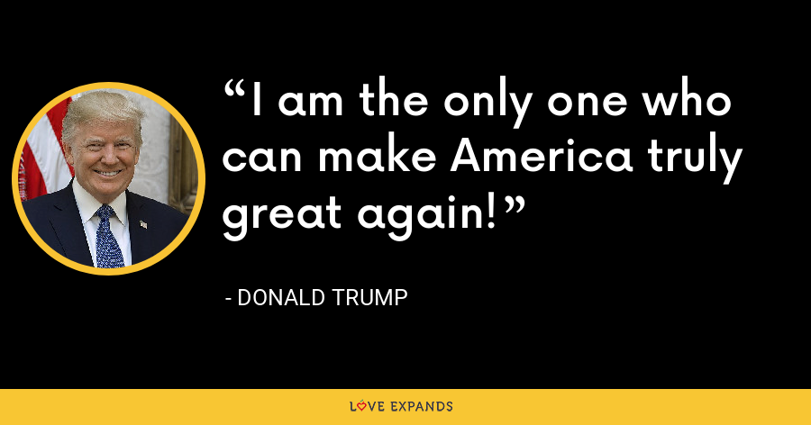 I am the only one who can make America truly great again! - Donald Trump