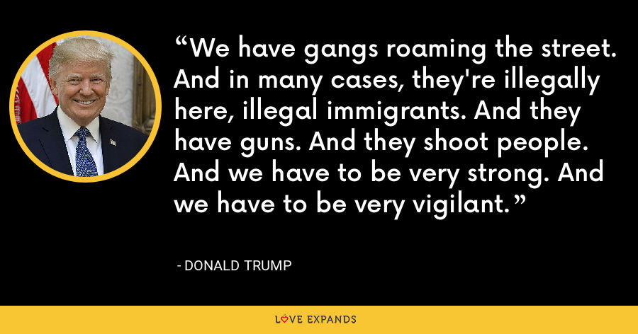 We have gangs roaming the street. And in many cases, they're illegally here, illegal immigrants. And they have guns. And they shoot people. And we have to be very strong. And we have to be very vigilant. - Donald Trump