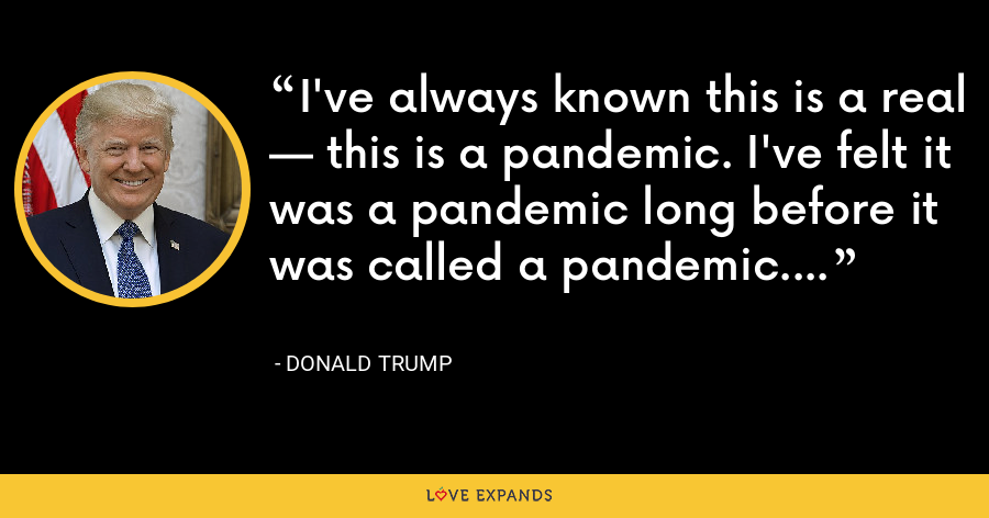 I've always known this is a real — this is a pandemic. I've felt it was a pandemic long before it was called a pandemic. - Donald Trump