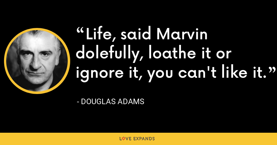 Life, said Marvin dolefully, loathe it or ignore it, you can't like it. - Douglas Adams