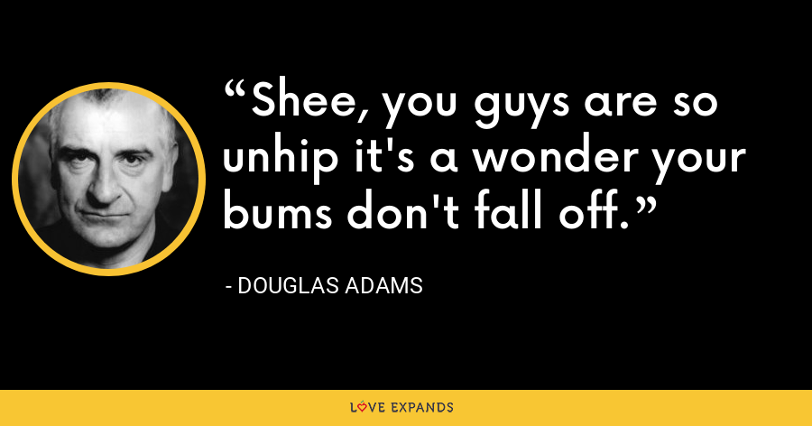 Shee, you guys are so unhip it's a wonder your bums don't fall off. - Douglas Adams