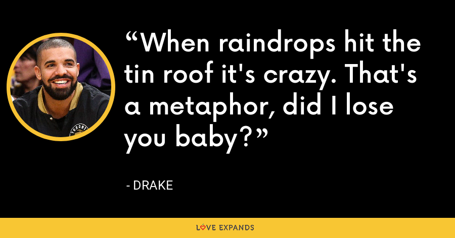 When raindrops hit the tin roof it's crazy. That's a metaphor, did I lose you baby? - Drake