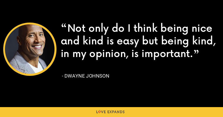 Not only do I think being nice and kind is easy but being kind, in my opinion, is important. - Dwayne Johnson