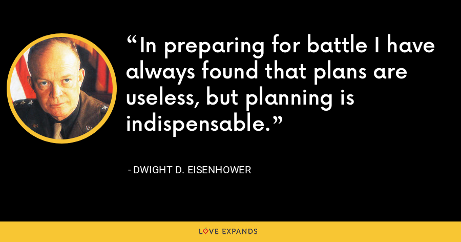 In preparing for battle I have always found that plans are useless, but planning is indispensable. - Dwight D. Eisenhower