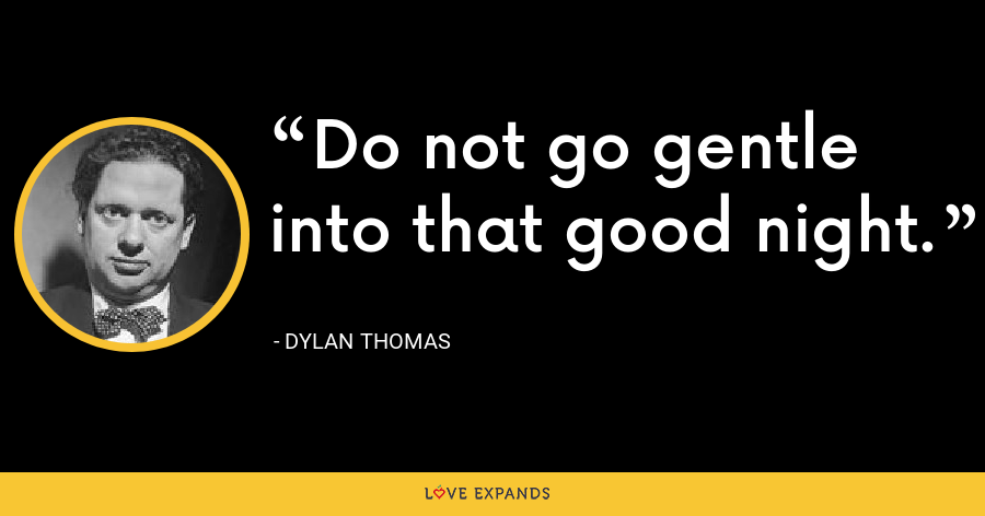 Do not go gentle into that good night. - Dylan Thomas