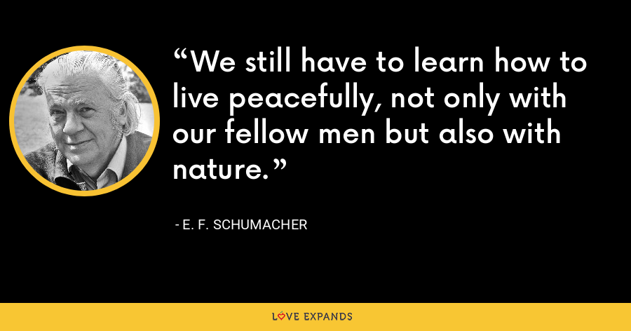 We still have to learn how to live peacefully, not only with our fellow men but also with nature. - E. F. Schumacher