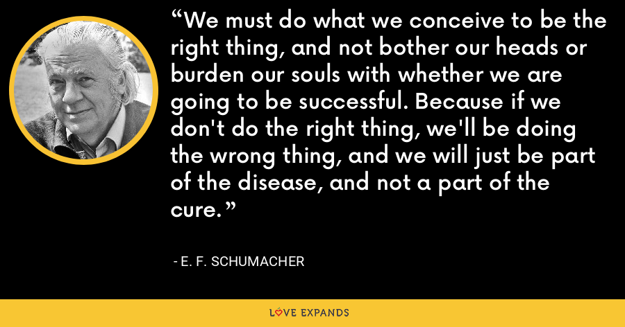 We must do what we conceive to be the right thing, and not bother our heads or burden our souls with whether we are going to be successful. Because if we don't do the right thing, we'll be doing the wrong thing, and we will just be part of the disease, and not a part of the cure. - E. F. Schumacher