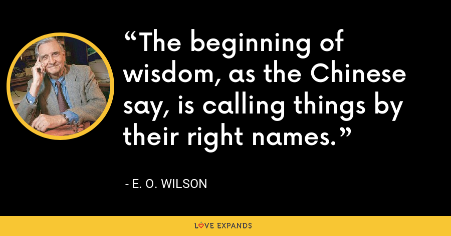 The beginning of wisdom, as the Chinese say, is calling things by their right names. - E. O. Wilson
