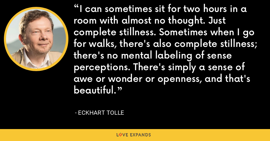 I can sometimes sit for two hours in a room with almost no thought. Just complete stillness. Sometimes when I go for walks, there's also complete stillness; there's no mental labeling of sense perceptions. There's simply a sense of awe or wonder or openness, and that's beautiful. - Eckhart Tolle