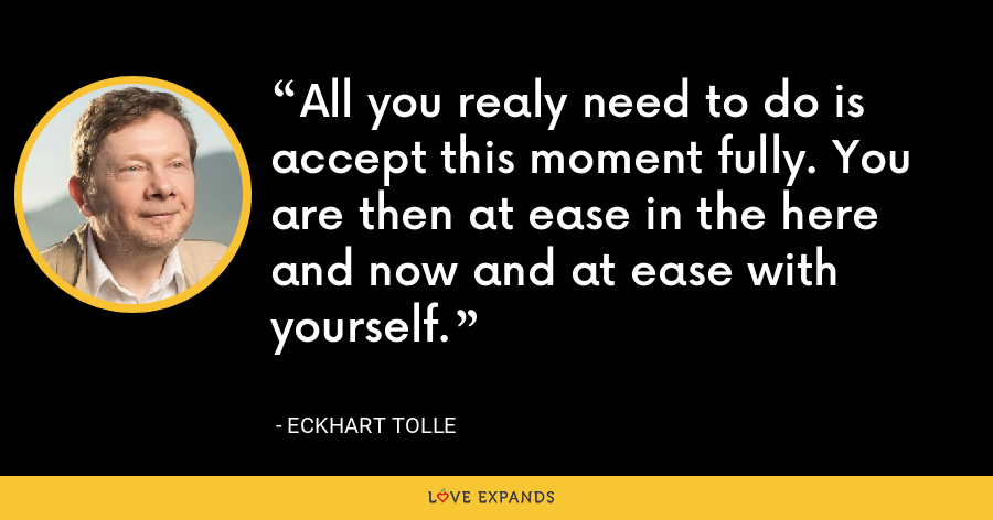 All you realy need to do is accept this moment fully. You are then at ease in the here and now and at ease with yourself. - Eckhart Tolle