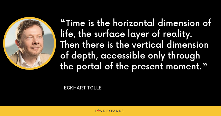 Time is the horizontal dimension of life, the surface layer of reality. Then there is the vertical dimension of depth, accessible only through the portal of the present moment. - Eckhart Tolle
