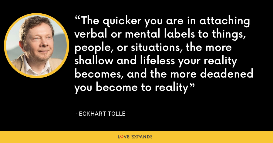 The quicker you are in attaching verbal or mental labels to things, people, or situations, the more shallow and lifeless your reality becomes, and the more deadened you become to reality - Eckhart Tolle