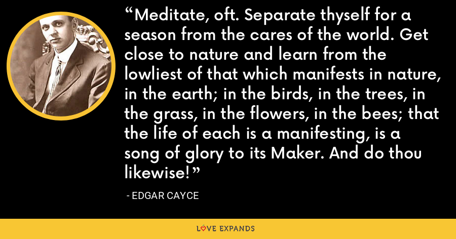 Meditate, oft. Separate thyself for a season from the cares of the world. Get close to nature and learn from the lowliest of that which manifests in nature, in the earth; in the birds, in the trees, in the grass, in the flowers, in the bees; that the life of each is a manifesting, is a song of glory to its Maker. And do thou likewise! - Edgar Cayce