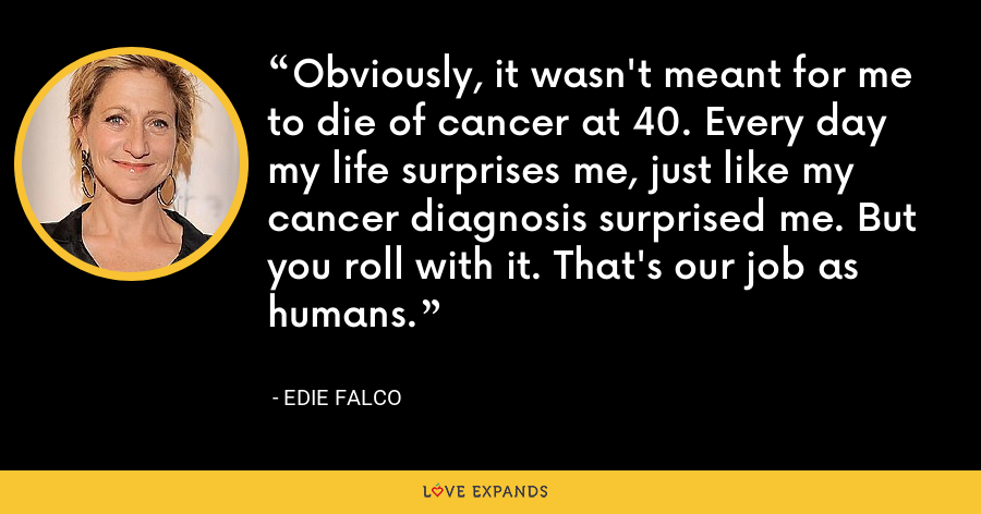 Obviously, it wasn't meant for me to die of cancer at 40. Every day my life surprises me, just like my cancer diagnosis surprised me. But you roll with it. That's our job as humans. - Edie Falco