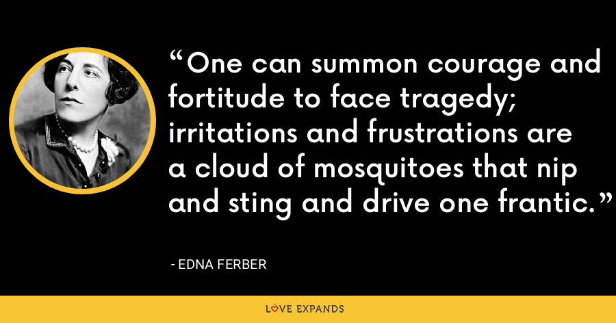 One can summon courage and fortitude to face tragedy; irritations and frustrations are a cloud of mosquitoes that nip and sting and drive one frantic. - Edna Ferber
