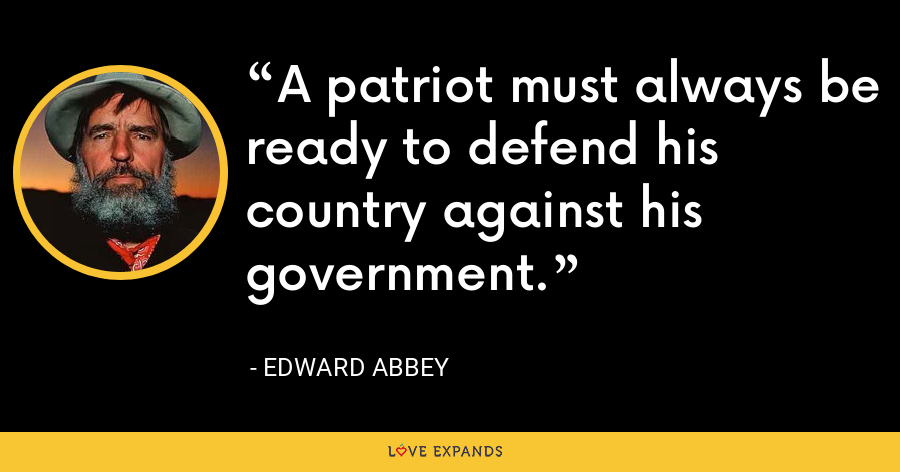 A patriot must always be ready to defend his country against his government. - Edward Abbey