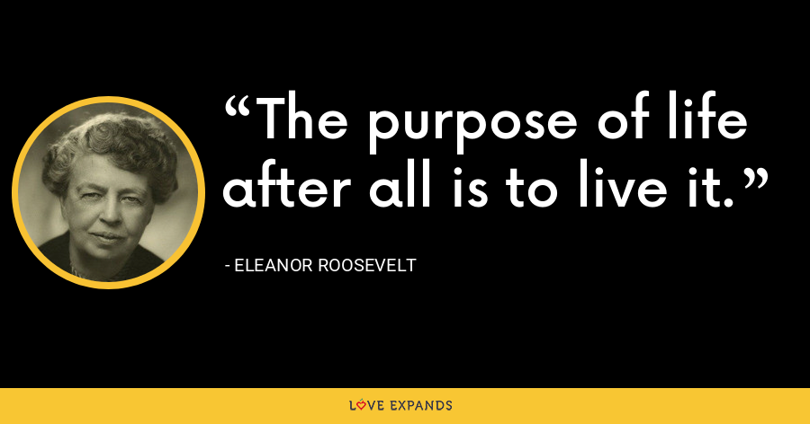 The purpose of life after all is to live it. - Eleanor Roosevelt