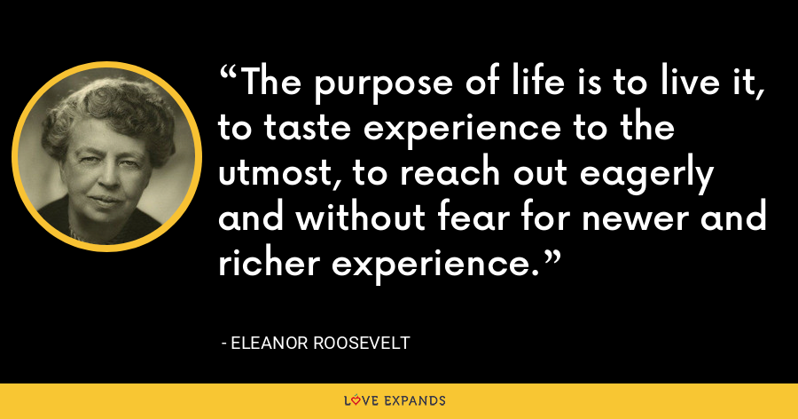 The purpose of life is to live it, to taste experience to the utmost, to reach out eagerly and without fear for newer and richer experience. - Eleanor Roosevelt