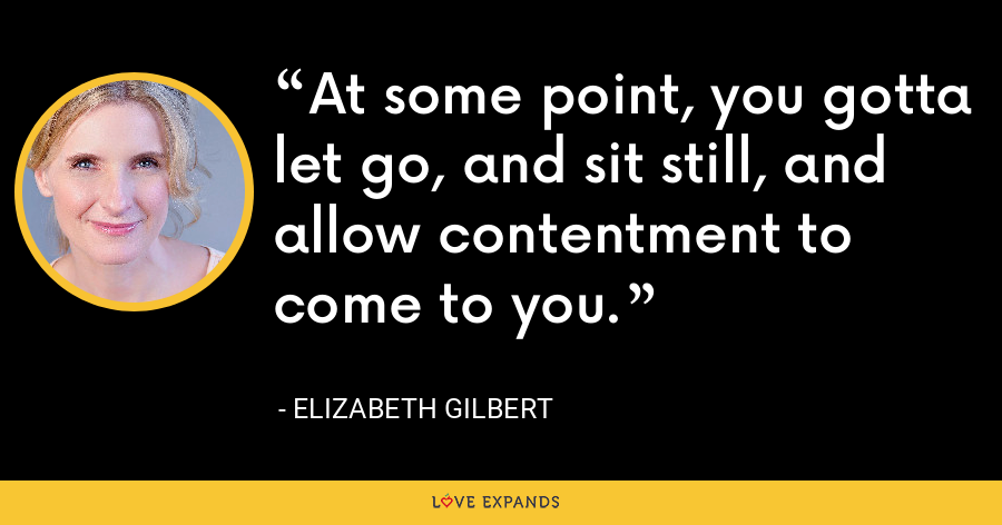 At some point, you gotta let go, and sit still, and allow contentment to come to you. - Elizabeth Gilbert