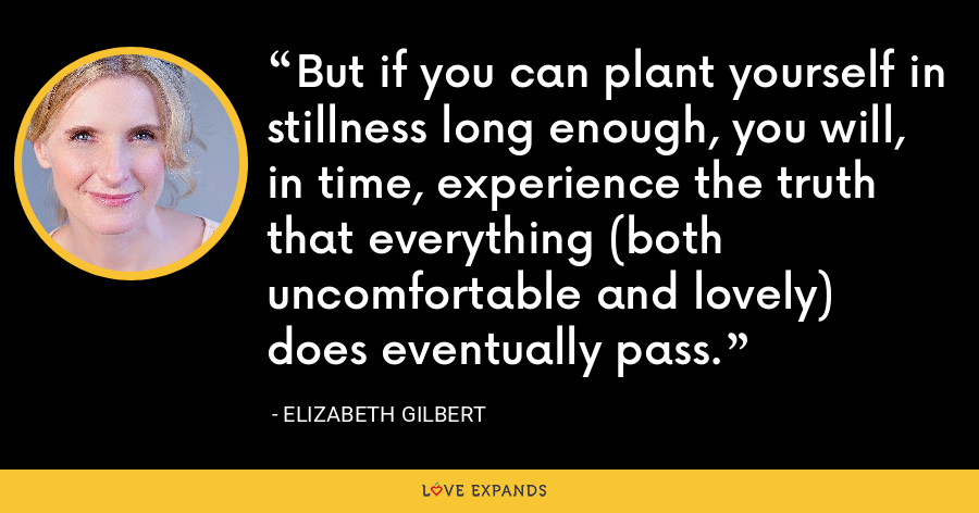 But if you can plant yourself in stillness long enough, you will, in time, experience the truth that everything (both uncomfortable and lovely) does eventually pass. - Elizabeth Gilbert