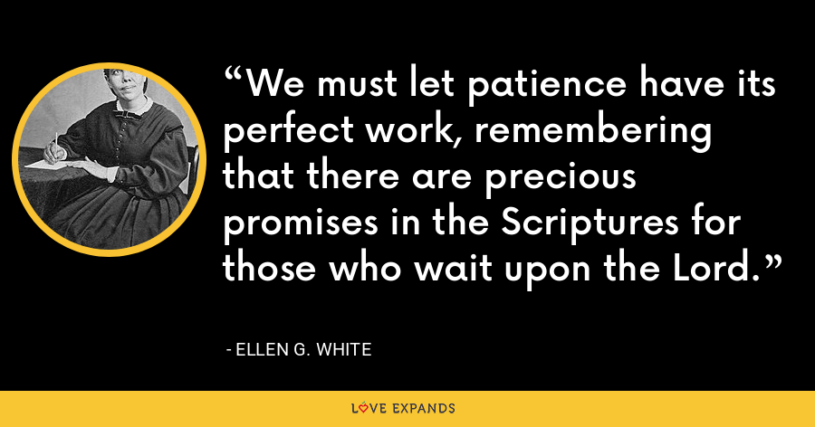 We must let patience have its perfect work, remembering that there are precious promises in the Scriptures for those who wait upon the Lord. - Ellen G. White