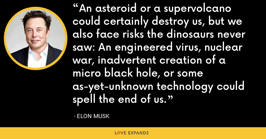 An asteroid or a supervolcano could certainly destroy us, but we also face risks the dinosaurs never saw: An engineered virus, nuclear war, inadvertent creation of a micro black hole, or some as-yet-unknown technology could spell the end of us. - Elon Musk