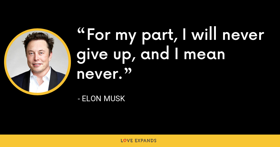 For my part, I will never give up, and I mean never. - Elon Musk