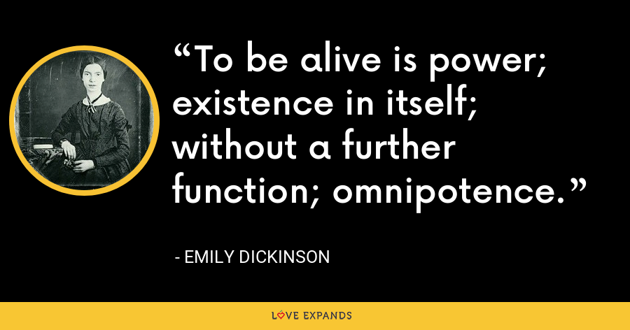 To be alive is power; existence in itself; without a further function; omnipotence. - Emily Dickinson