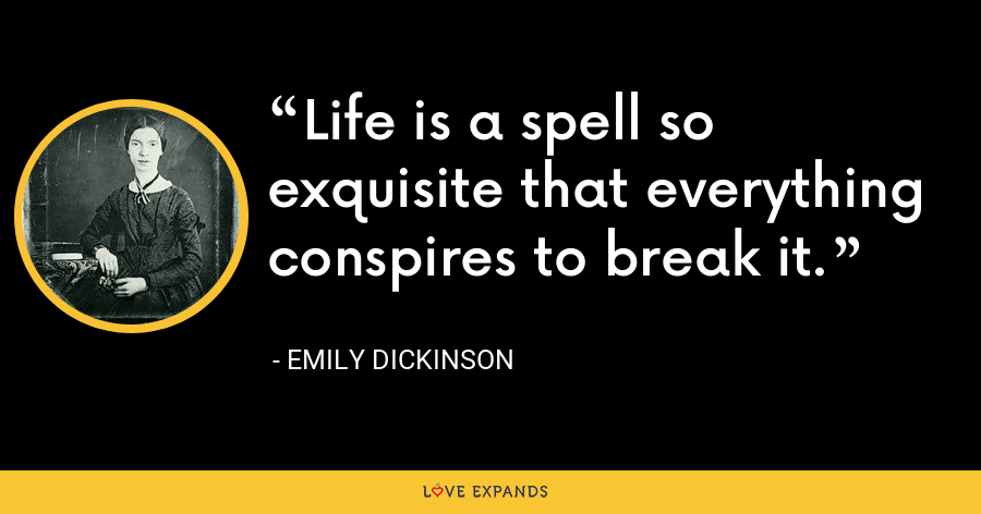 Life is a spell so exquisite that everything conspires to break it. - Emily Dickinson