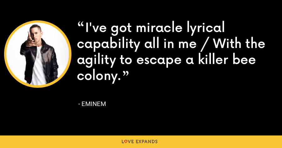 I've got miracle lyrical capability all in me / With the agility to escape a killer bee colony. - Eminem