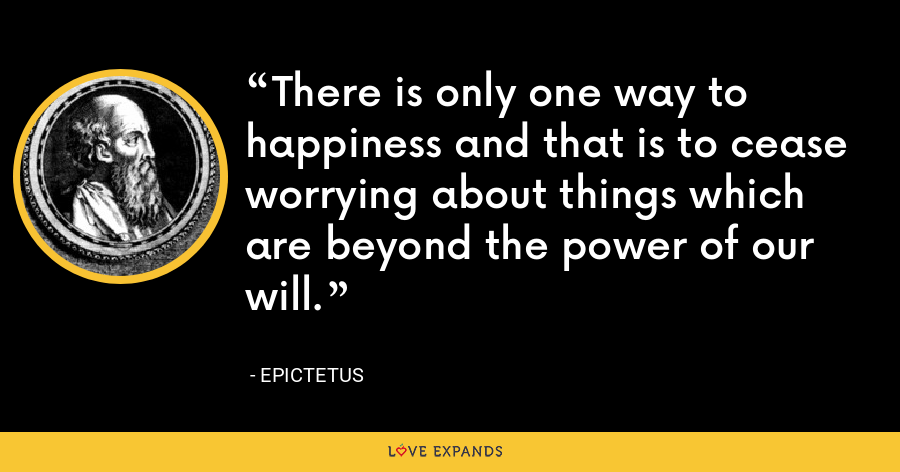 There is only one way to happiness and that is to cease worrying about things which are beyond the power of our will. - Epictetus