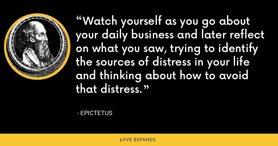 Watch yourself as you go about your daily business and later reflect on what you saw, trying to identify the sources of distress in your life and thinking about how to avoid that distress. - Epictetus