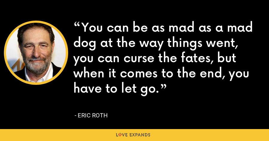 You can be as mad as a mad dog at the way things went, you can curse the fates, but when it comes to the end, you have to let go. - Eric Roth