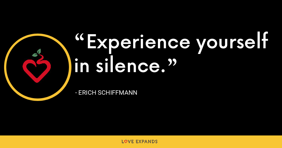 Experience yourself in silence. - Erich Schiffmann