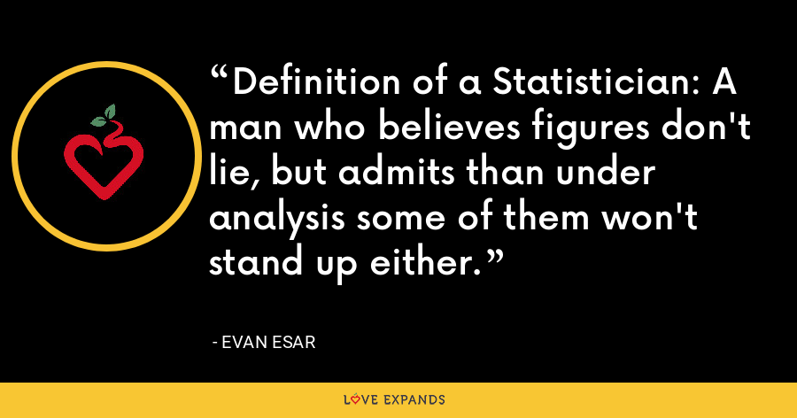 Definition of a Statistician: A man who believes figures don't lie, but admits than under analysis some of them won't stand up either. - Evan Esar