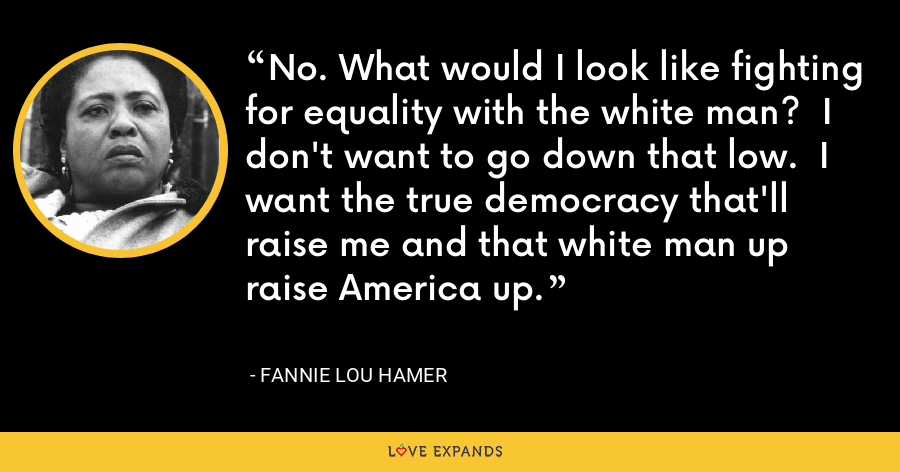 No. What would I look like fighting for equality with the white man?  I don't want to go down that low.  I want the true democracy that'll raise me and that white man up raise America up. - Fannie Lou Hamer