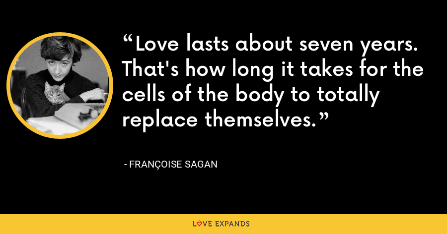 Love lasts about seven years. That's how long it takes for the cells of the body to totally replace themselves. - Françoise Sagan
