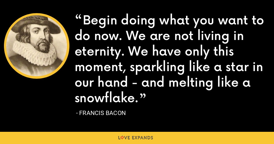 Begin doing what you want to do now. We are not living in eternity. We have only this moment, sparkling like a star in our hand - and melting like a snowflake. - Francis Bacon