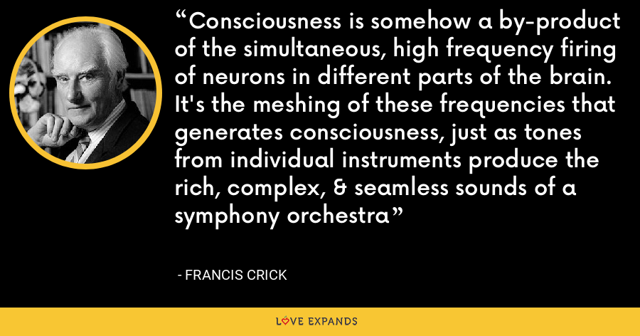 Consciousness is somehow a by-product of the simultaneous, high frequency firing of neurons in different parts of the brain. It's the meshing of these frequencies that generates consciousness, just as tones from individual instruments produce the rich, complex, & seamless sounds of a symphony orchestra - Francis Crick