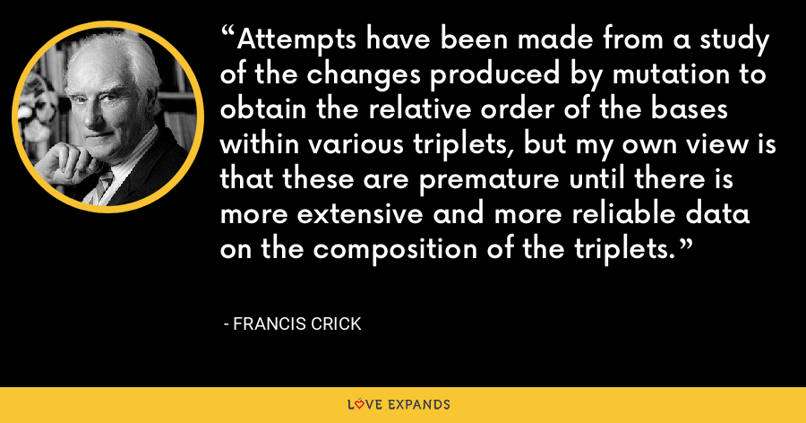 Attempts have been made from a study of the changes produced by mutation to obtain the relative order of the bases within various triplets, but my own view is that these are premature until there is more extensive and more reliable data on the composition of the triplets. - Francis Crick