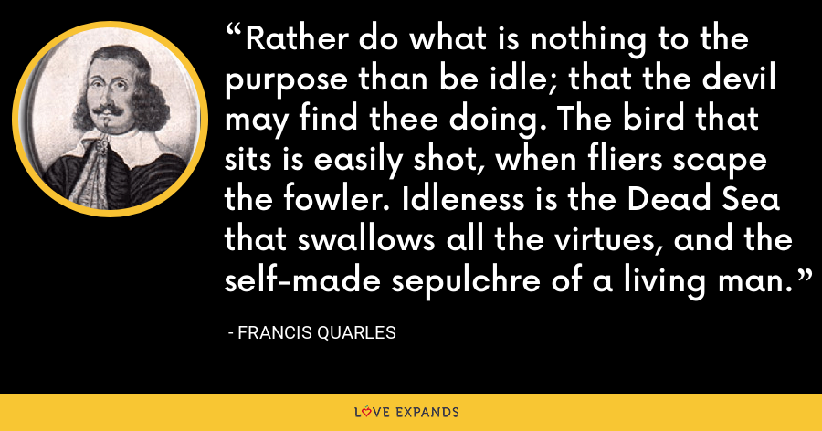 Rather do what is nothing to the purpose than be idle; that the devil may find thee doing. The bird that sits is easily shot, when fliers scape the fowler. Idleness is the Dead Sea that swallows all the virtues, and the self-made sepulchre of a living man. - Francis Quarles