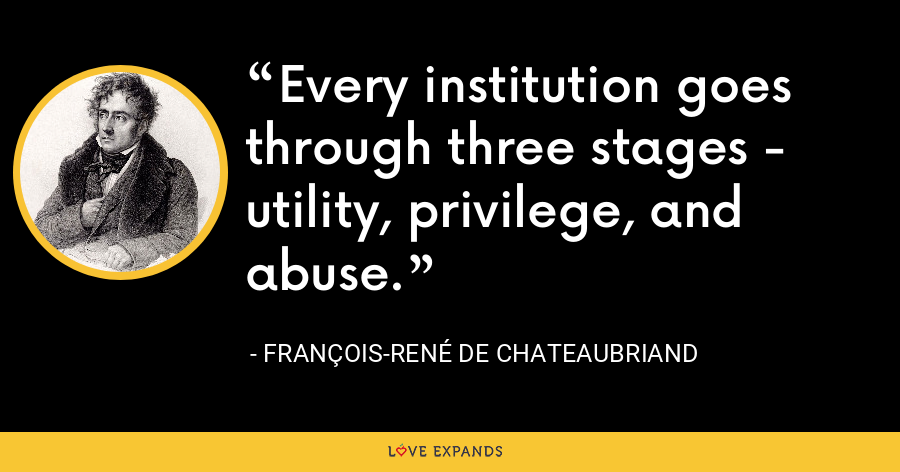 Every institution goes through three stages - utility, privilege, and abuse. - François-René de Chateaubriand