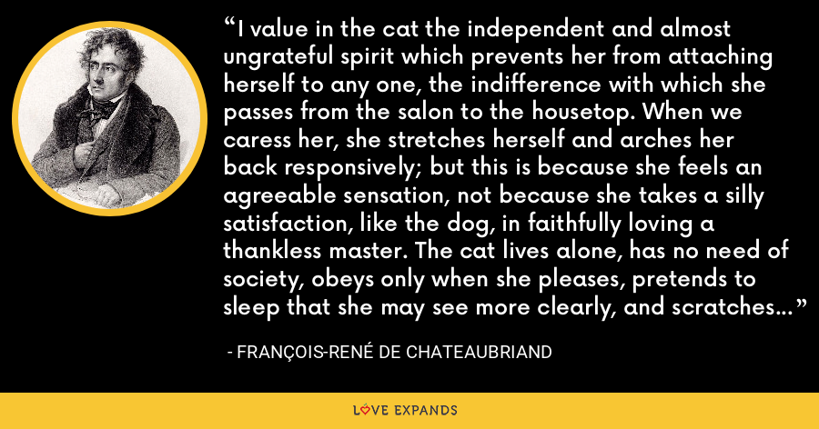 I value in the cat the independent and almost ungrateful spirit which prevents her from attaching herself to any one, the indifference with which she passes from the salon to the housetop. When we caress her, she stretches herself and arches her back responsively; but this is because she feels an agreeable sensation, not because she takes a silly satisfaction, like the dog, in faithfully loving a thankless master. The cat lives alone, has no need of society, obeys only when she pleases, pretends to sleep that she may see more clearly, and scratches everything on which she can lay her paw. - François-René de Chateaubriand