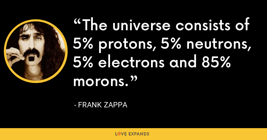The universe consists of 5% protons, 5% neutrons, 5% electrons and 85% morons. - Frank Zappa