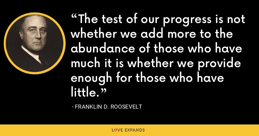 The test of our progress is not whether we add more to the abundance of those who have much it is whether we provide enough for those who have little. - Franklin D. Roosevelt
