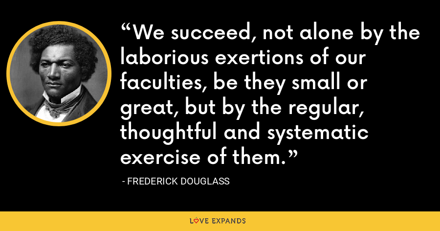 We succeed, not alone by the laborious exertions of our faculties, be they small or great, but by the regular, thoughtful and systematic exercise of them. - Frederick Douglass