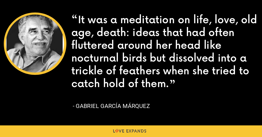 It was a meditation on life, love, old age, death: ideas that had often fluttered around her head like nocturnal birds but dissolved into a trickle of feathers when she tried to catch hold of them. - Gabriel García Márquez
