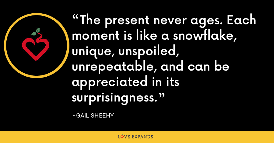 The present never ages. Each moment is like a snowflake, unique, unspoiled, unrepeatable, and can be appreciated in its surprisingness. - Gail Sheehy